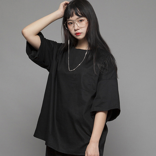 [MSUL] Loose Fit Wooven Short T-shirt - Black