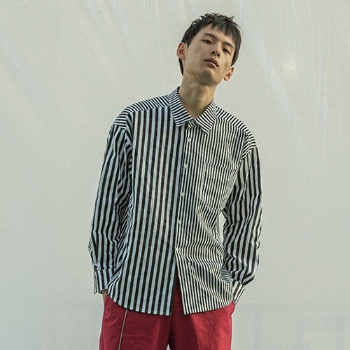 [XYZ] UNISEX MIXED STRIPED SHIRTS -BLACK STRIPE