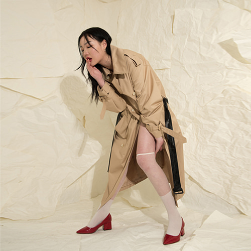 [XYZ] UNISEX OVERSIZED TRENCH COAT - BEIGE