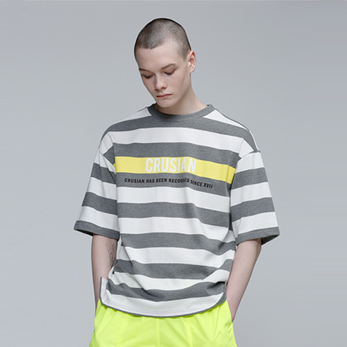 [PINK CRUSIAN]LIME PONIT STRIPE T SHIRTS (UNISEX)
