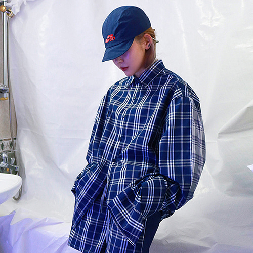 [MEZZOKUNST] LOGO CHECK MIX SHIRT - NAVY