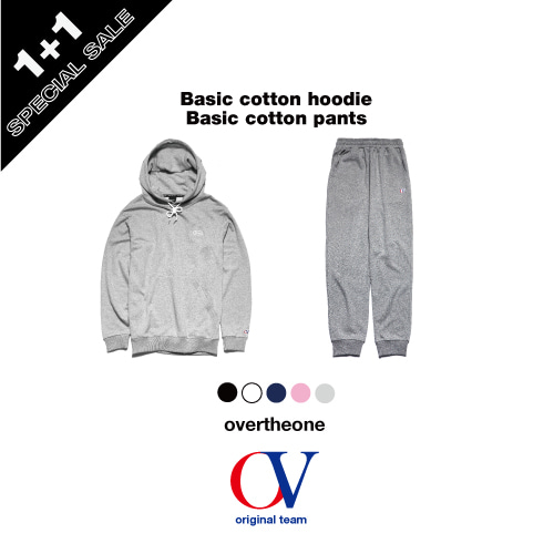 [OVERTHEONE]134+135 BASIC COTTON HOODIE + BASIC COTTON PANTS