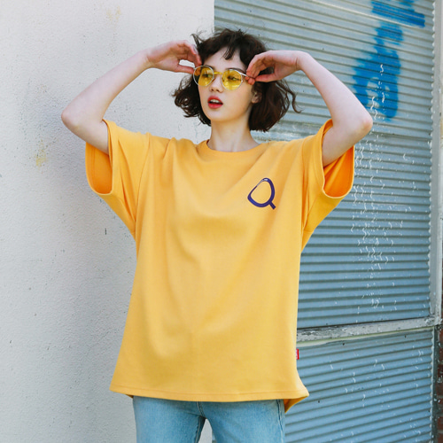 [써치410] (UNISEX) MAGMIFYING PRINTING OVER T_YELLOW