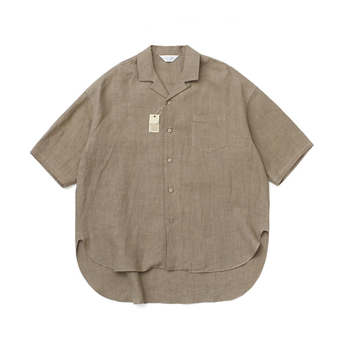 [LAFUDGESTORE][프리미엄] Over Linen Slip 1/2 Shirt_Brown