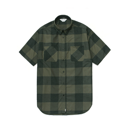 [LAFUDGESTORE]Gingham Check 1/2 Shirt Green