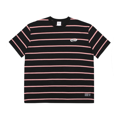 [BASEMOMENT] Stripe Border tee - Black