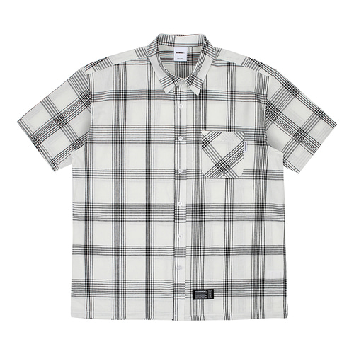 [BASEMOMENT] Plaid Check S/S Shirt - White