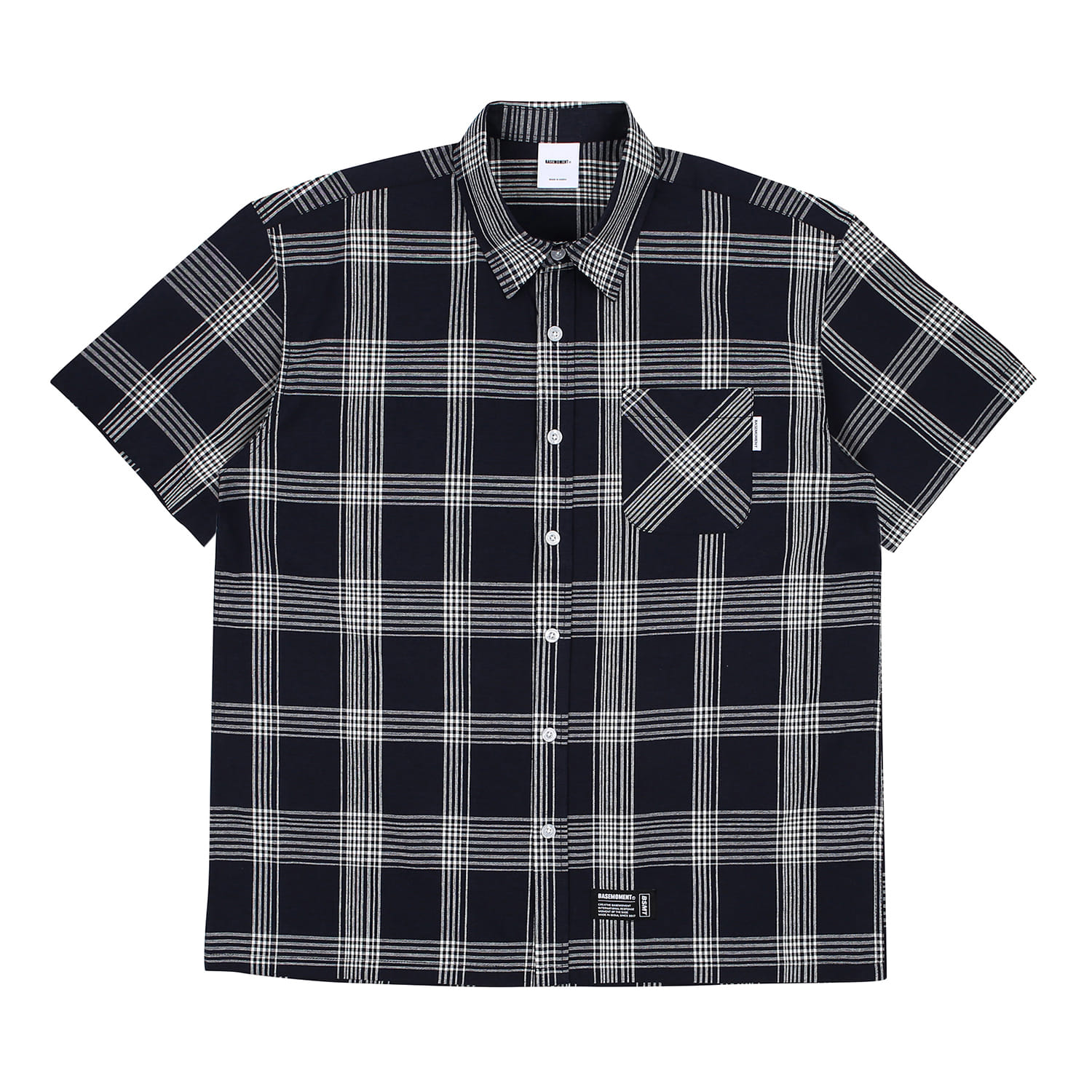 [BASEMOMENT] Plaid Check S/S Shirt - Navy