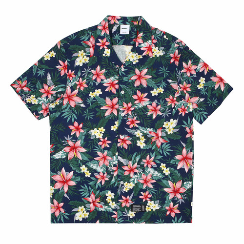 [BASEMOMENT] Aloha S/S Shirt - Navy