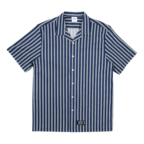 [BASEMOMENT] Strpe S/S Shirt - Navy