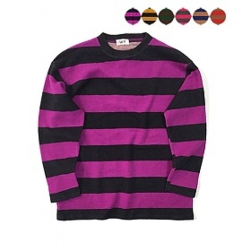 [GINGHAMBUS] Vintage Fluffy Stripe T-shirt(6color)(unisex) 기모 빈티지 스트라이프 맨투맨