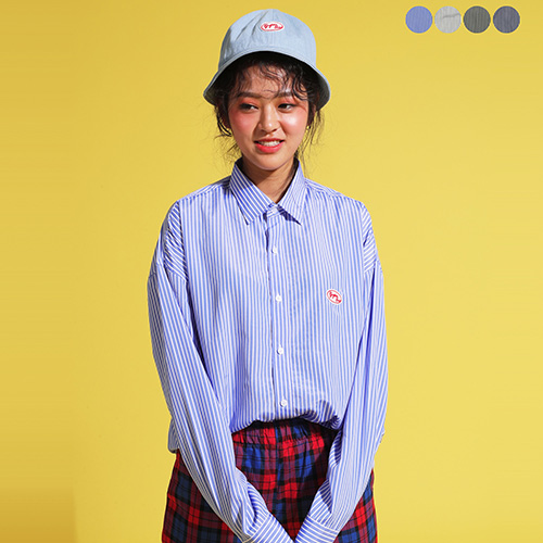 [GINGHAMBUS]Play Stripe Overfit Shirt (4color)(unisex)