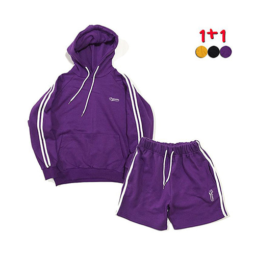 [GINGHAMBUS][1+1]Two Stripe Hoodie 2 +Two Stripe Track Shorts(3color)(unisex)