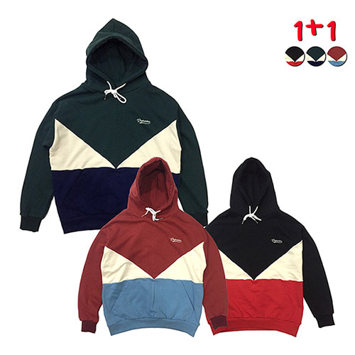 [GINGHAMBUS][1+1]Retro Color Block Hoodie+Retro Color Block Hoodie
