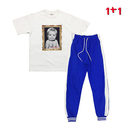 [GINGHAMBUS][1+1]Cry Baby T-shirt+GBB Flag Jogger Pants