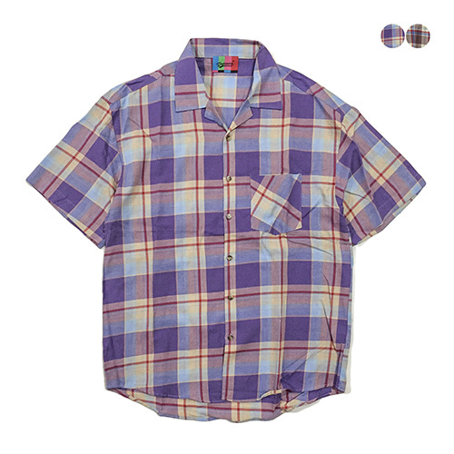 [GINGHAMBUS]Open Madras Check Shirt(2color)(unisex)
