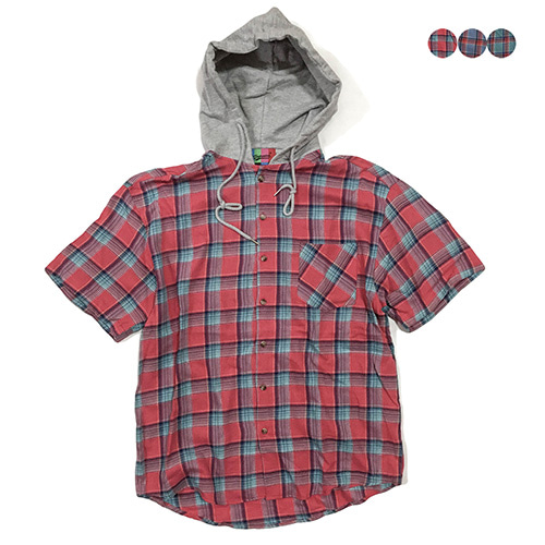 [GINGHAMBUS]Hoodie Half Sleeve Check Shirt(3color)(unisex)