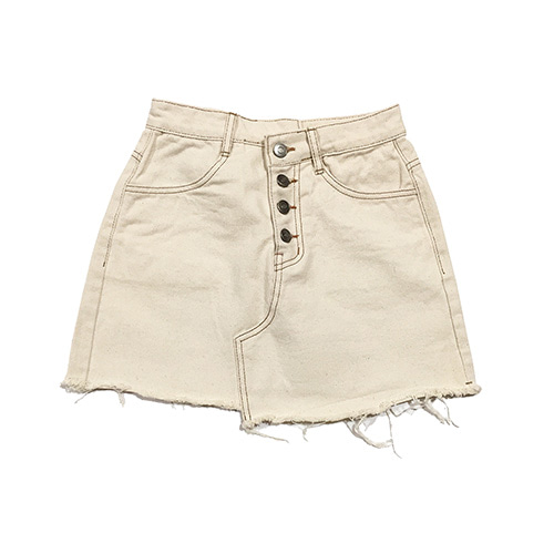 [GINGHAMBUS]Unbalance Cut Natural Cotton Skirt(여성용)