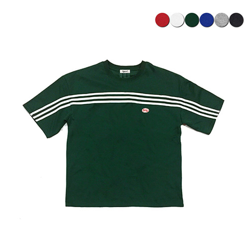 [GINGHAMBUS]Front Panel Striped T-shirt(6color)(unisex)