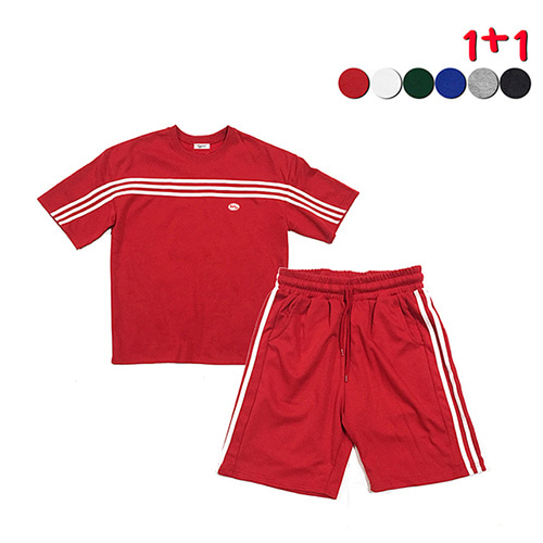 [GINGHAMBUS][1+1]Front Panel Striped T-shirt+Side Panel Striped Track Shorts(6color)(unisex)