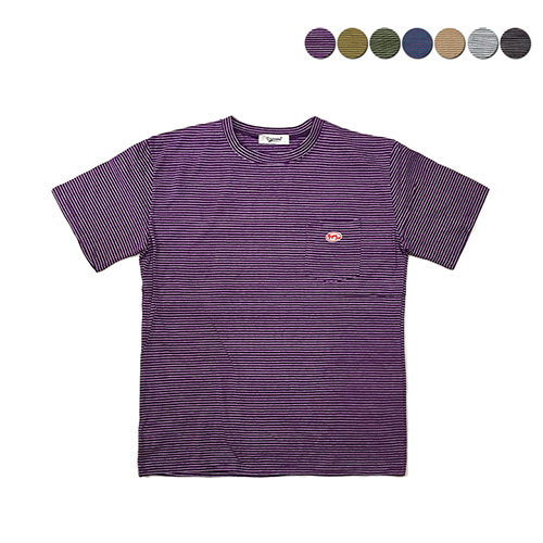 [GINGHAMBUS]Patch Pocket Stripe T-shirt(7color)(unisex)