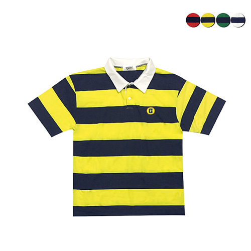 [GINGHAMBUS]G.Club Striped Polo Shirt(4color)(unisex)