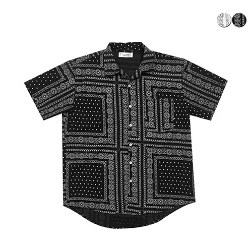 [GINGHAMBUS]Bandana Print Open Shirt(2color)(unisex)