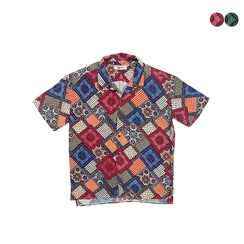 [GINGHAMBUS]Bandana Patchwork Open shirt (2color)(unisex)