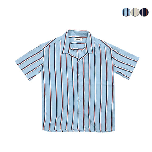 [GINGHAMBUS]Striped Pajamas Open Shirt(3color)(unisex)