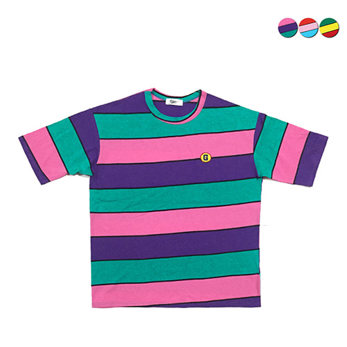 [GINGHAMBUS]Cartoon Stripe Overfit T-shirt(3color)(unisex)