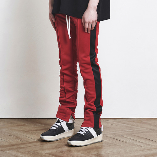 [D.PRIQUE] Track Zipper Pants Red+Black (d18sb023)