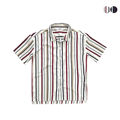 [GINGHAMBUS]Retro Striped Open Shirts(2color)(unisex)