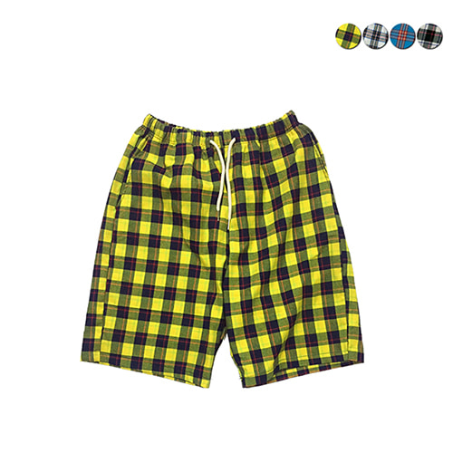 [GINGHAMBUS]Overfit Check Shorts(4color)(unisex)