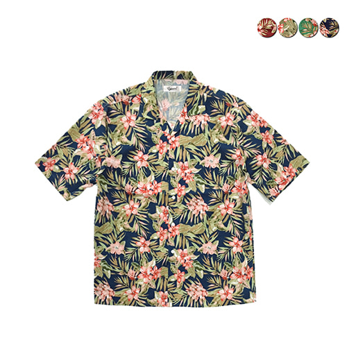 [GINGHAMBUS]Tropical Flower Aloha Shirts(4color)(unisex)