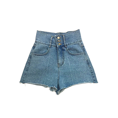 [GINGHAMBUS]Three Button High Waist Denim Shorts