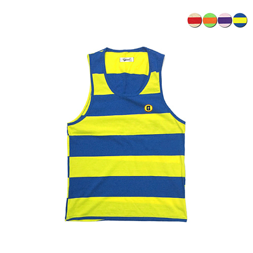 [GINGHAMBUS]G Border Stripe Sleeveless Shirt(4color)