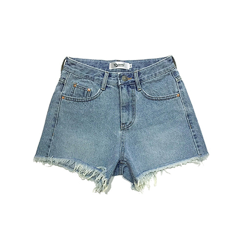 [GINGHAMBUS]Vintage Cut-off Denim Shorts