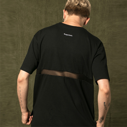 [Trippin CeLL] Back Mesh Tee (black)
