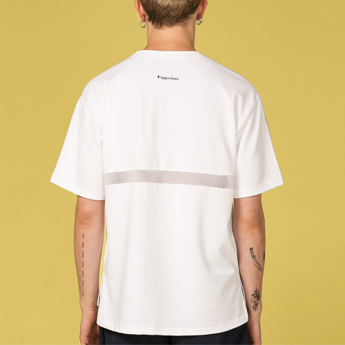 [Trippin CeLL] Back Mesh Tee (white)