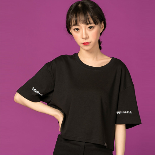 [Trippin CeLL] Twin Crop Tee (black)
