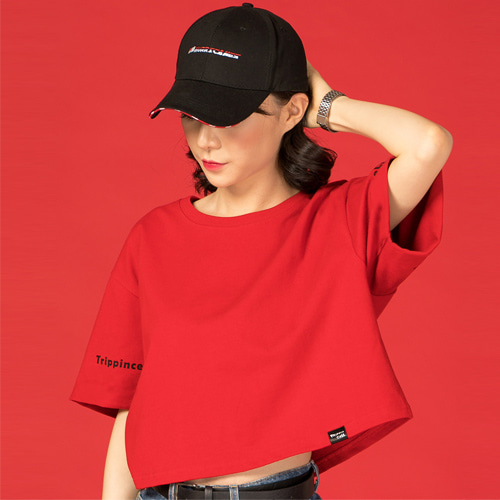 [Trippin CeLL] Twin Crop Tee (red)