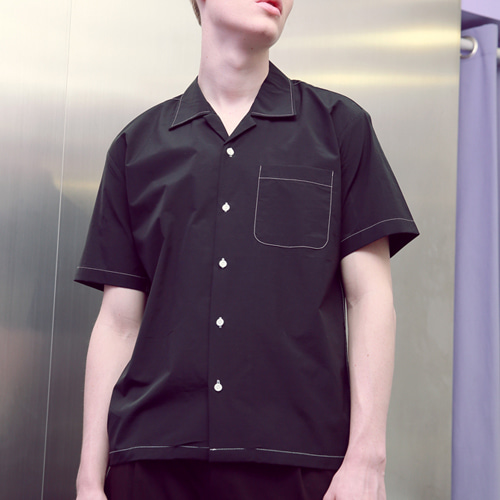 [언아웃핏]UNISEX STITCH OPEN COLLAR SHIRTS BLACK
