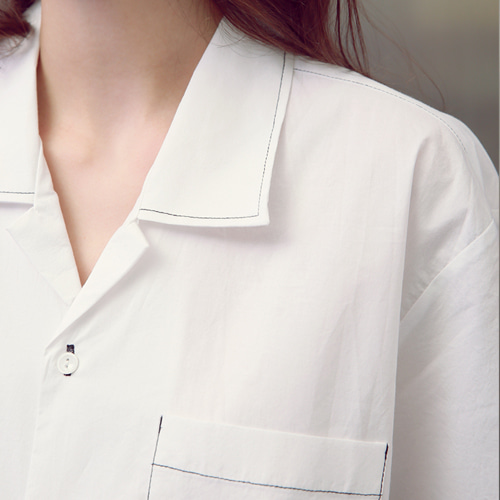 [언아웃핏]UNISEX STITCH OPEN COLLAR SHIRTS WHITE