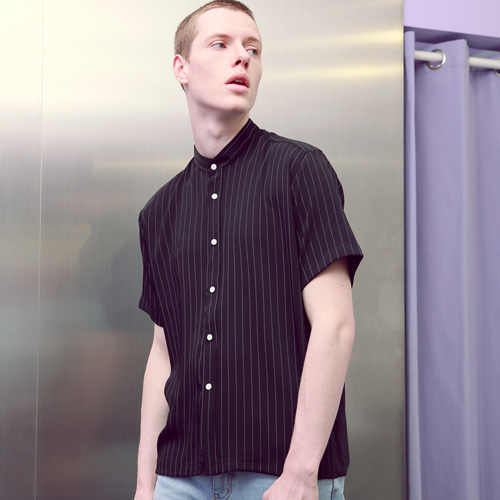 [언아웃핏]UNISEX STRIPE HENELEY NECK SHIRTS BLACK