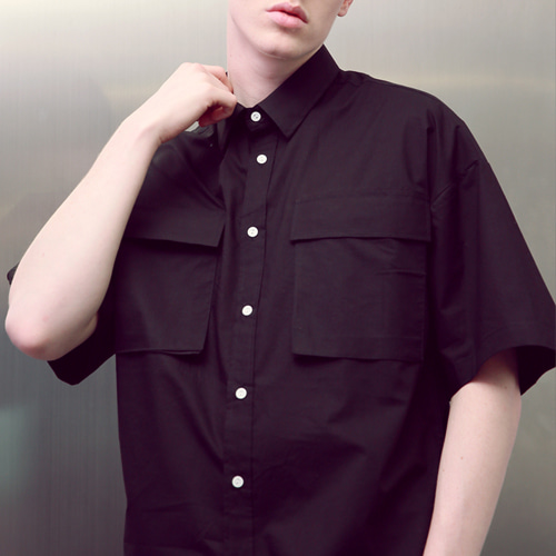 [언아웃핏]UNISEX TWO POCKET SHIRTS BLACK