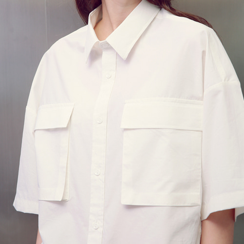 [언아웃핏]UNISEX TWO POCKET SHIRTS WHITE