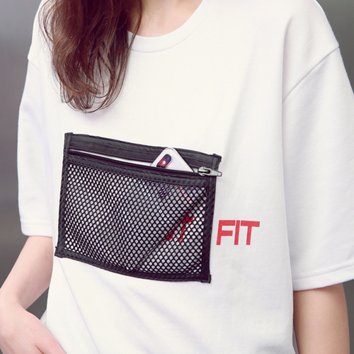 [언아웃핏]UNISEX MESH ZIPPER POCKET T-SHIRTS WHITE