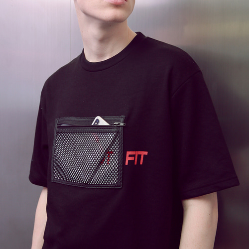 [언아웃핏]UNISEX MESH ZIPPER POCKET T-SHIRTS BLACK
