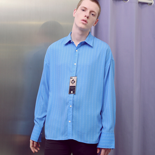 [언아웃핏]UNISEX STRIPE PRINTING SHIRTS SKYBLUE