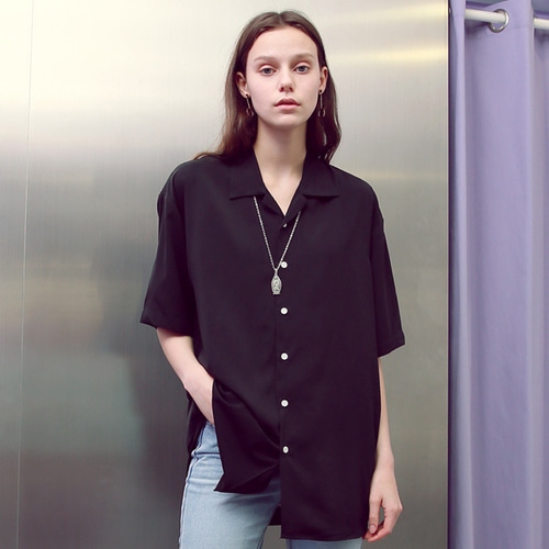 [언아웃핏]UNISEX MINIMAL OPEN COLLAR SHIRTS BLACK